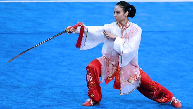 The beautiful Wushu Athlete from Indonesia Won the Gold Medal
