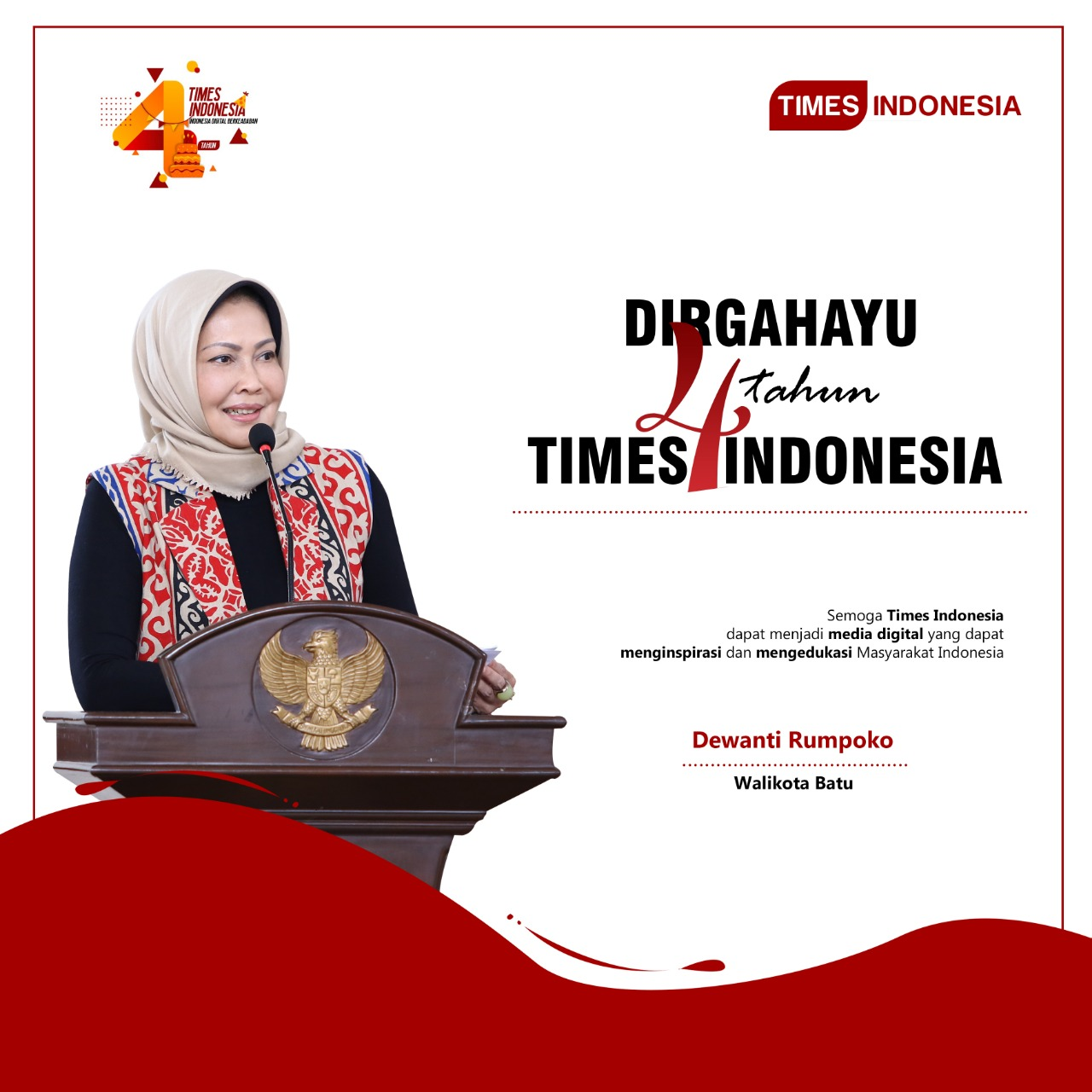 DISPLAY UCAPAN HUT KE 4 TIMES INDONESIA - DEWANTI