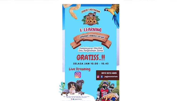 Mini Zoo Jogja Exotarium Delivers Animal and Environmental Education Programs through Live Streaming