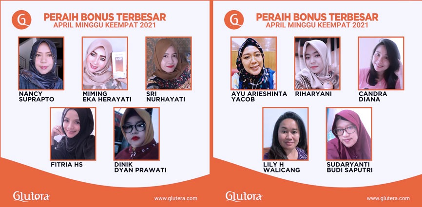 TOP BONUS Glutera Minggu ke 4 Bulan April 2021