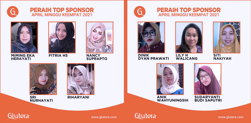 TOP Sponsor Glutera Minggu ke 4 Bulan April 2021